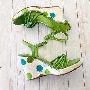 Coach Lona Wedge Green Polka Dot Sandals 8.5
